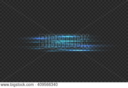 Car Fast Motion Trail Effect. Realistic Horizontal Blue Neon Linear Glow, Light Speed Lines, Laser S