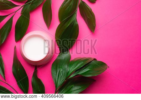 Face Cream And Green Leaves . Cosmetology. Facial Skin Care. Article About The Selection Of The Crea