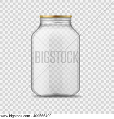 Glass Jar. Empty Clear Glass Container With Metal Cap, Closed Transparent 3d Glassware For Homemade