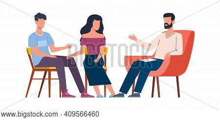 Men And Women Talking To Psychotherapist. Group And Family Therapy, Husband And Wife Talk To Male Ps