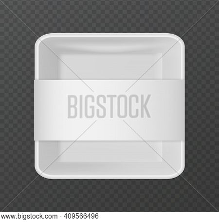Plastic Packaging. 3d Snack Package. Realistic White Empty Container For Portioned Food On Transpare