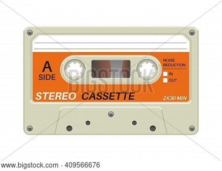 Retro Cassette. Audio Equipment For Analog Music Records. Blank Stereo Tape. Isolated Plastic Musica