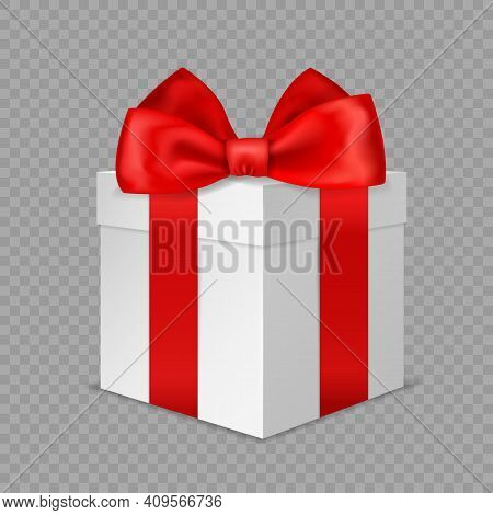 White Gift Box With Red Bow. Realistic Wrapped Present. 3d Closed Luxury Packaging With Satin Ribbon