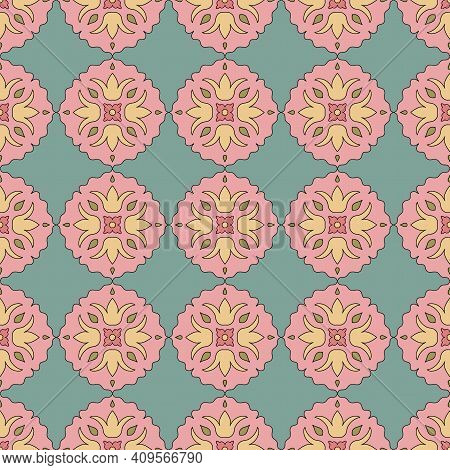 Seamless Pattern From Round Ceramic Tiles. Vector. Geometric Pattern With Lotus Flowers And Leaves.