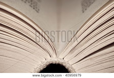 Closeup Of Open Old Book