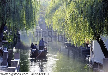 Zhou Zhuang, China-november 28,2008: Boat With Passengers In A Canal At Zhou Zhuang, Suzhou, China.