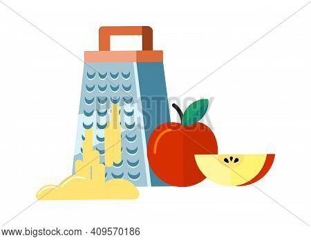 Flat Food Preparation. Apple Chopping, Fruit And Grater. Fresh Garden Product Grinding, Seasonal Vit
