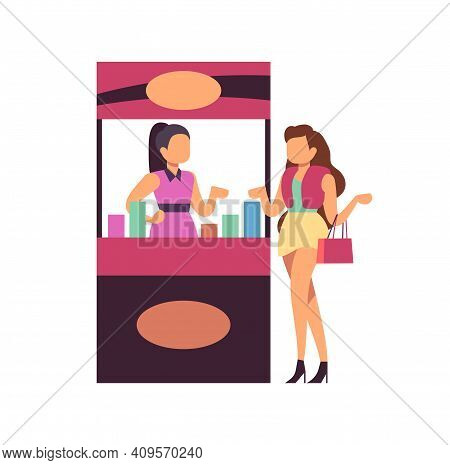 Sexy Girl On Shopping. Woman On Trade Expo, Advertising Of Goods. Seller And Customer, Cartoon Stree