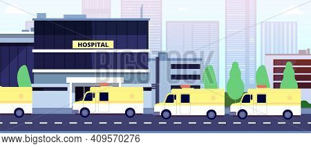 Ambulance Queue At Hospital Building. Paramedics Or Reanimation, Healthcare In Pandemic Time Vector