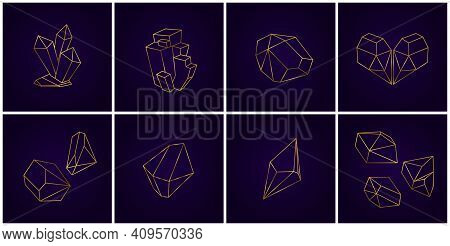 Gold Geometric Crystals. 3d Diamond Shapes, Outline Golden Crystal Collection Cards. Gem Stones Line