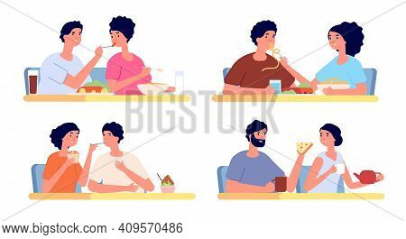 People Eat Together. Couple Eating, Dinner Food In Restaurant. Friends Meeting, Cartoon Smiling Woma