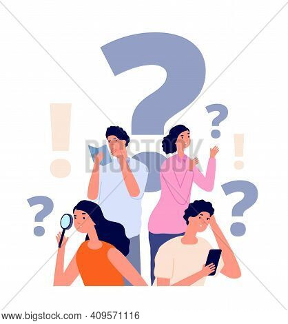 Interrogative Concept. Flat People Search, Woman Holding Magnifier. Group Investigation, Searching S