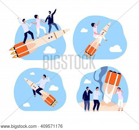 Business Startup. Bankruptcy Characters, Rocket Launch Strategy. Corporate Teamwork, Team Fail And S
