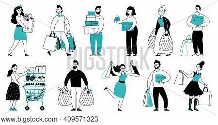 People With Purchases. Shop Sales, Purchase For Girl Man Or Woman. Line Crazy Shopping Characters, D