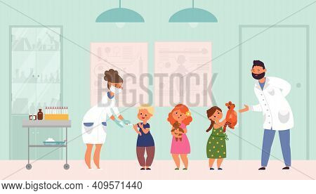 Children Vaccination. Flat Sick Child, Vaccinations Flu Or Viruses. Hospital Doctors, Pediatrician A