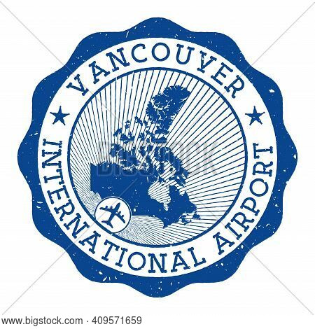 Vancouver International Airport Stamp. Airport Of Vancouver Round Logo With Location On Canada Map M