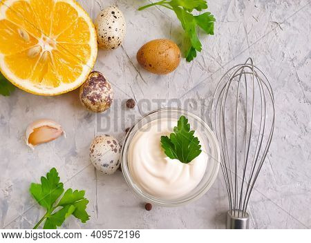 Homemade Mayonnaise, Quail Eggs On Concrete Background