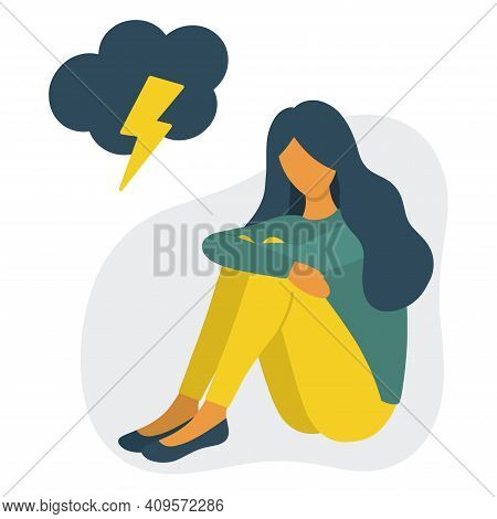 Depressed Woman Concept Flat Style Vector Illustration. Sitting Sad Woman With Cloud And Lightning A