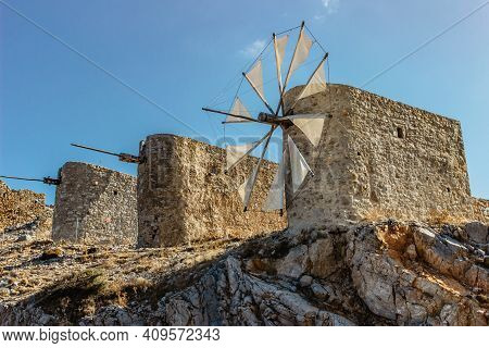 Tranquil Lassithi Plateau Famous For Old Stone Windmills,crete,greece.abandoned Iconic Windmills Sur