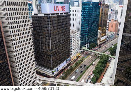 Wan Chai, Hong Kong 07 January 2021: Top down view of Hong Kong city