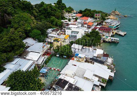 Yau Tong, Hong Kong 18 September 2020: Top down view of Hong Kong old village