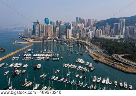 Causeway Bay, Hong Kong 20 July 2020: Top view of Hong Kong city