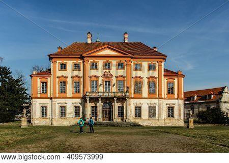 Tourists In Libechov, Old Abandoned Baroque Castle In Central Bohemia,czech Republic.romantic Buildi
