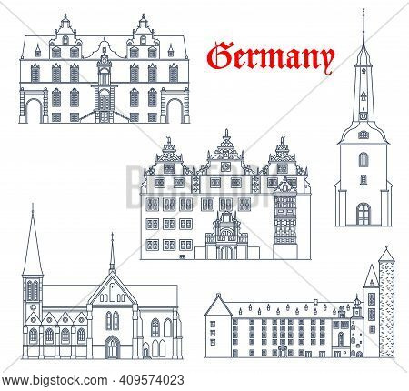 Germany Landmarks Architecture, German City Vector Icons Of Cathedrals And Churches Buildings In Sch