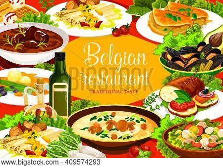 Belgian Cuisine Restaurant Food, Vector Dishes Of Meat, Vegetable And Seafood. Beef Stew Carbonnade,