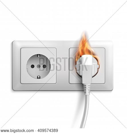 Short Circuit Realistic Vector Design With 3d Electric Outlet On Fire. Electrical Power Double Socke