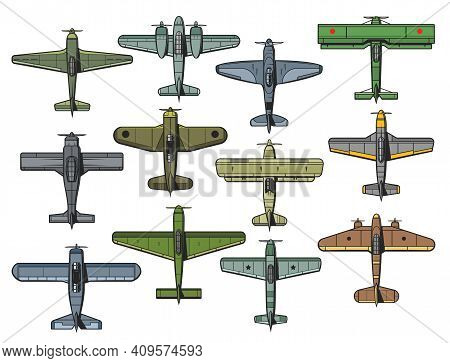 Retro Military And Civil Airplanes Isolated Vector Set. Air Force Vintage Fighter, Bomber And Transp