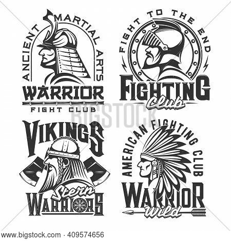 Tshirt Print With Ancient Warriors, Vector Mascot For Fighting Club Apparel Design. Samurai, Viking,