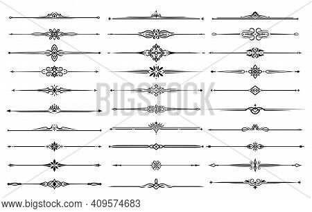 Line Borders, Dividers And Frame Lines With Vector Floral And Tribal Ornaments. Ornate Calligraphy E