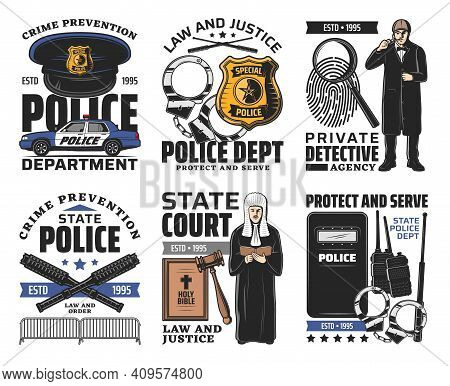 Law And Order, Court Jurisprudence Icons. Judge Or Lawyer In Wig, Detective With Magnifying Glass An