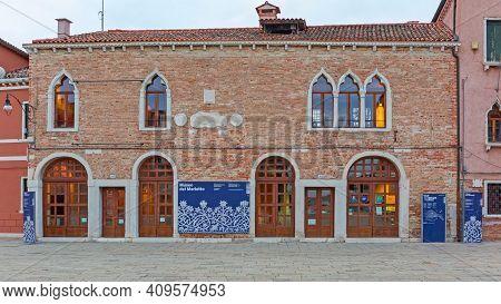 Burano, Italy - January 10, 2017: Merletto Museum At Burano Island In Venice, Italy.
