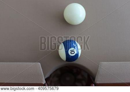 Billiard Balls (pool Balls) On American Billiards (american Pool) While Checking The Playing Surface