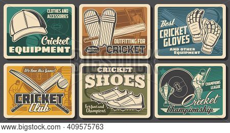 Cricket Sport Retro Posters. Bats And Ball, Cricket Player In Helmet, Shoes And Cap, Batsman Gloves