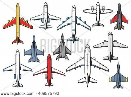 Planes And Airplanes Icons, Aviation Aircraft Retro And Modern, Vector Top View. Civil And Military