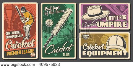 Cricket Club And Sport Championship Posters Retro, Vector Team Players Match. Cricket League Bowler