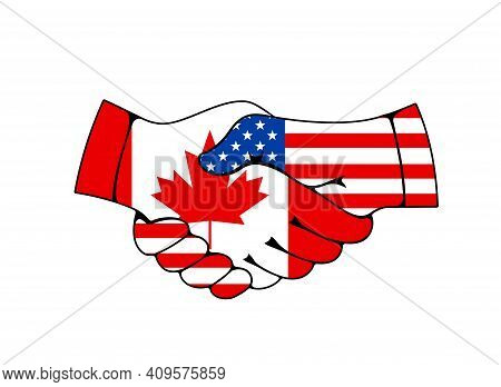 Canada And Usa Relations, Business And Trade Cooperation Vector Concept. Countries Good Relationship