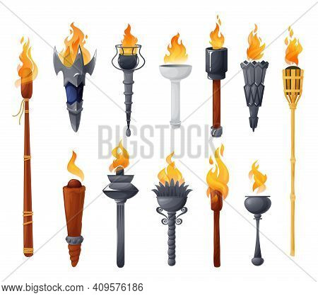 Medieval Torches With Burning Fire Vector Set. Ancient Metal And Wooden Brands Of Different Shapes W