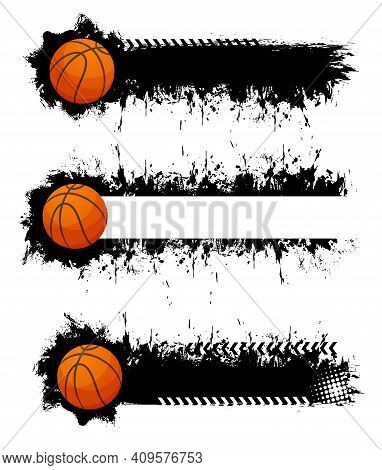 Basketball Ball With Grunge Strokes Vector Icons, Sports Accessory On White Background. Equipment Fo