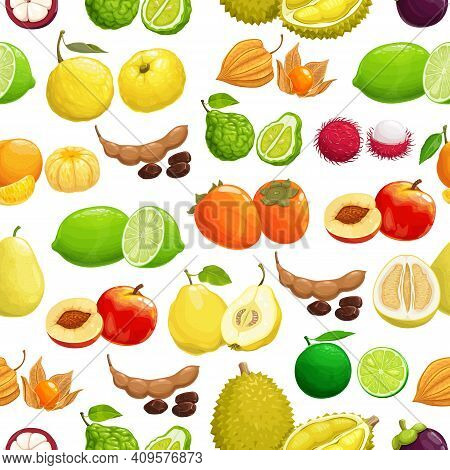 Fruits Tropical Pattern Background, Seamless Fruit Harvest, Vector. Exotic Fruits Background Of Trop
