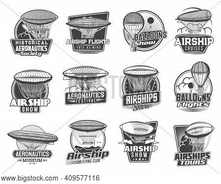 Dirigible Airships And Balloons Vector Icons Of Zeppelin, Vintage Air Transportation. Historical Air