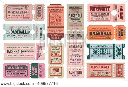 Baseball Sport Game Retro Tickets Templates Set. Team Competition Cup Or Sport Event Entrance Vintag