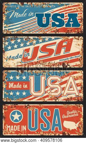 Made In Usa Rusty Metal Plates, Old Retro Signboards With United States Of America National Flag Str