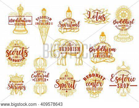 Buddhism Religion Symbols Isolated Vector Icons. Buddhist Symbolic Lotus, Buddha Statue, Precious Um