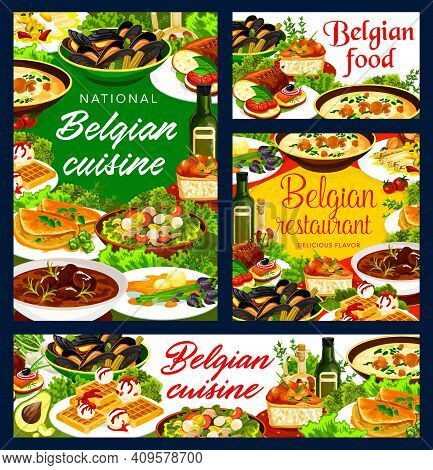 Belgian Cuisine Restaurant Food Vector Banners. Beef Meat Stew, Mussels And Waffles, Potato Tuna Sal