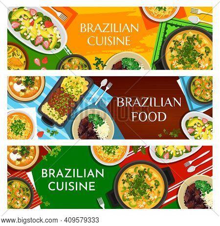 Brazilian Food Vector Beef Stew Picadinho De Carne, Corn Chowder And Black Bean Stew Feijoada. Shrim