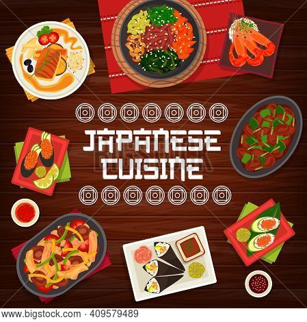 Japanese Cuisine Vector Chicken Liver With Chilli, Gunkun Sushi With Caviar, Vegetable Beef Stew. Ch